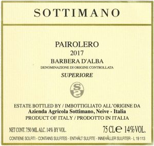 Barbera Pairolero 2017